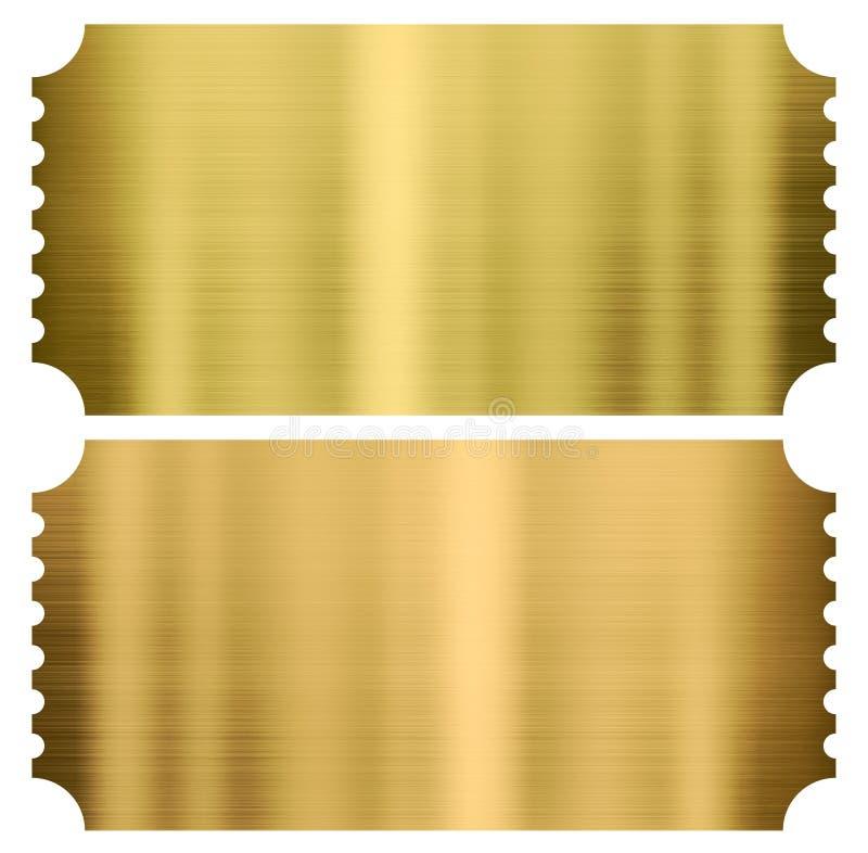 Bilhetes do cinema ou de teatro do ouro ajustados isolados ilustração royalty free