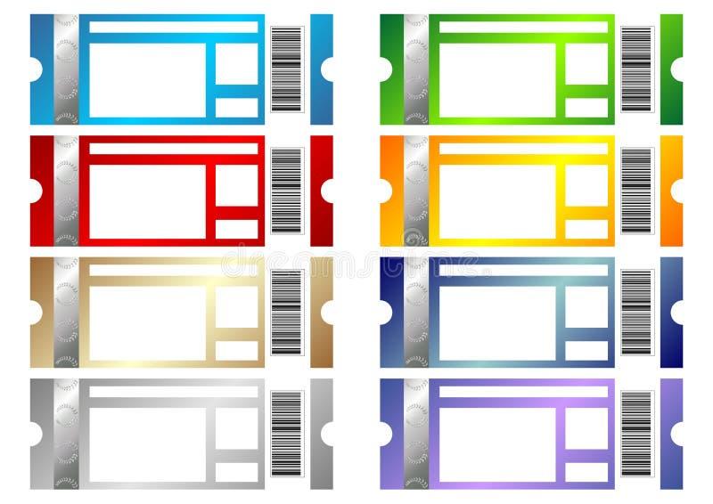Bilhetes do evento ajustados ilustração do vetor