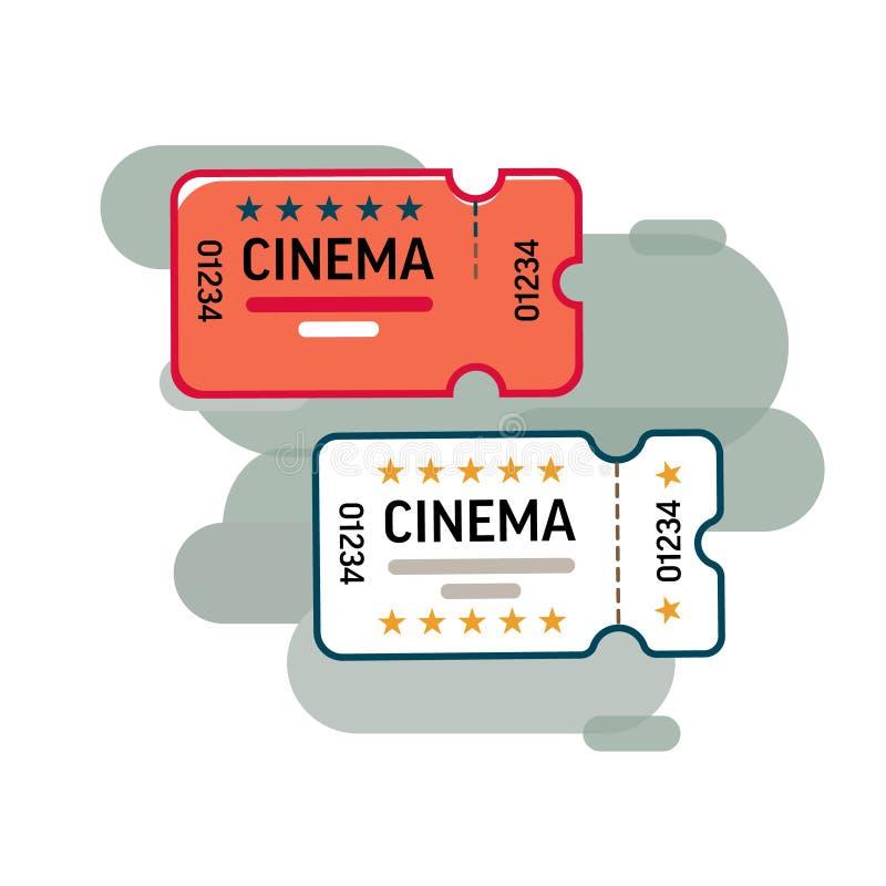 Bilhetes do filme Dois bilhetes ao cinema em sua mão Estilo dos desenhos animados ou liso Vetor ilustração do vetor