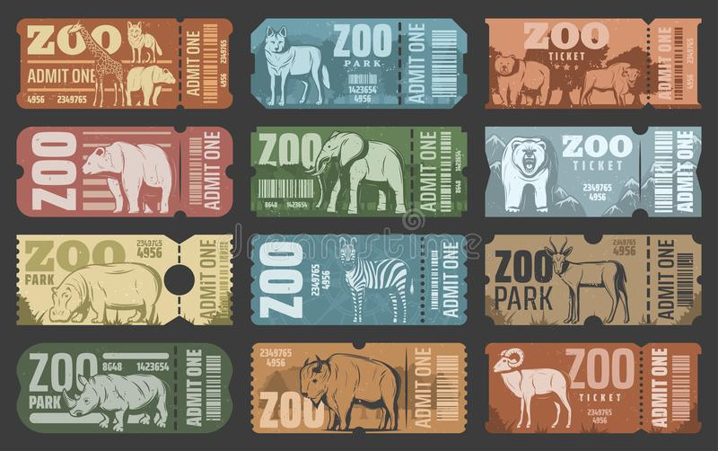 Bilhetes do parque do jardim zoológico com os animais do africano e da floresta ilustração royalty free