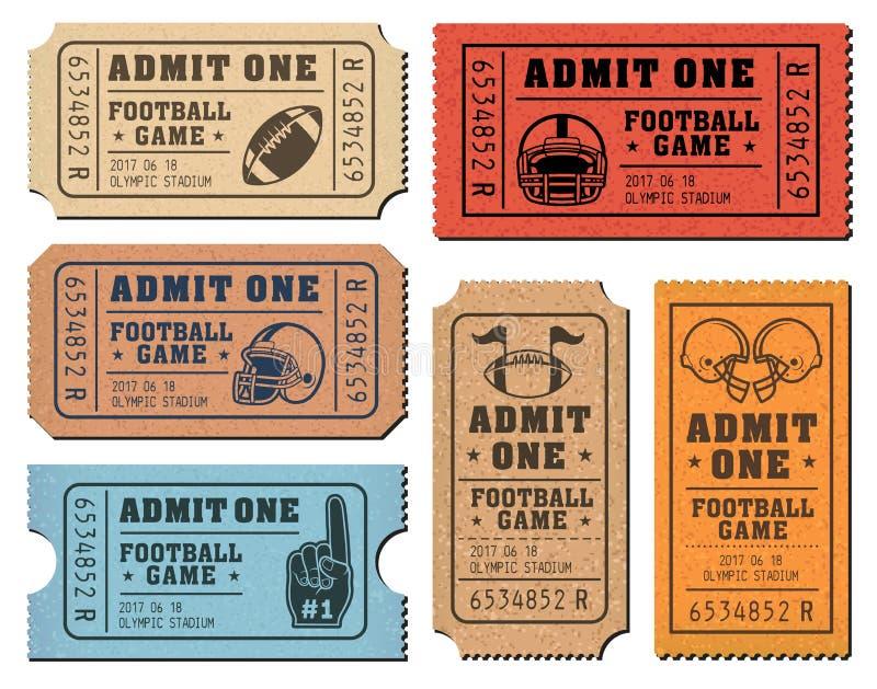 Bilhetes do vetor do futebol americano ilustração royalty free