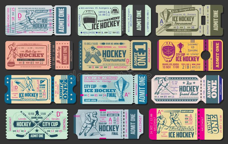 Bilhetes do vetor do jogo de hóquei em gelo ilustração royalty free
