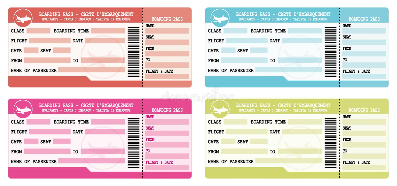 Bilhetes do voo Passagens de embarque coloridas Ilustrações ajustadas para a partida das férias ilustração stock