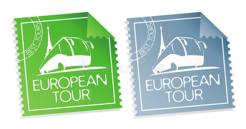 Bilhetes europeus da excursão. ilustração stock