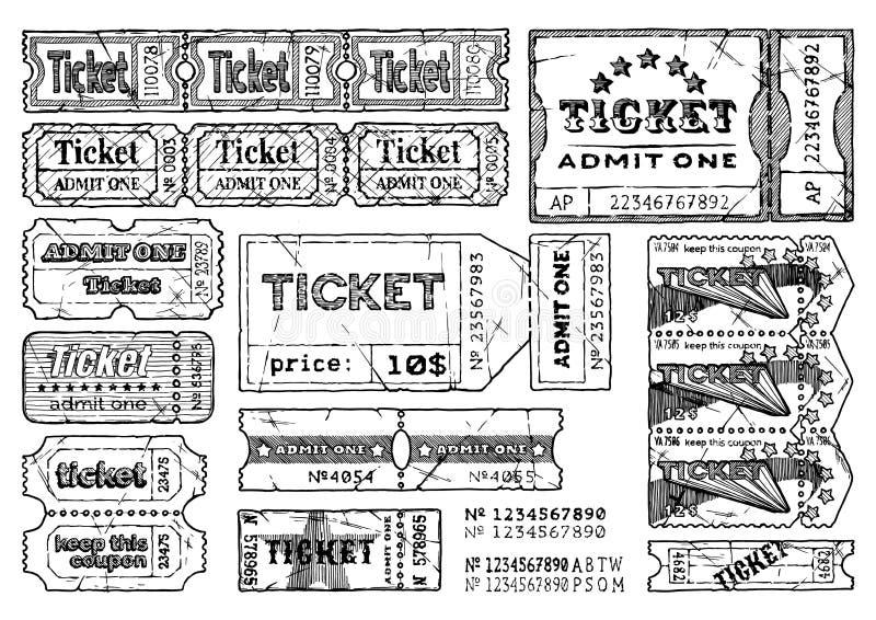 Bilhetes retros ajustados ilustração royalty free