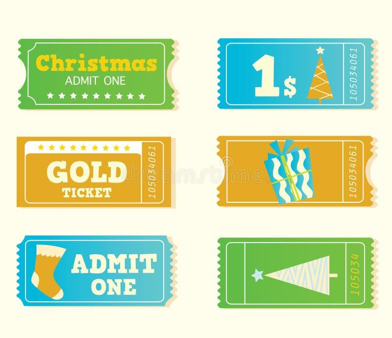 Bilhetes retros azuis e amarelos do Natal do cinema ilustração stock