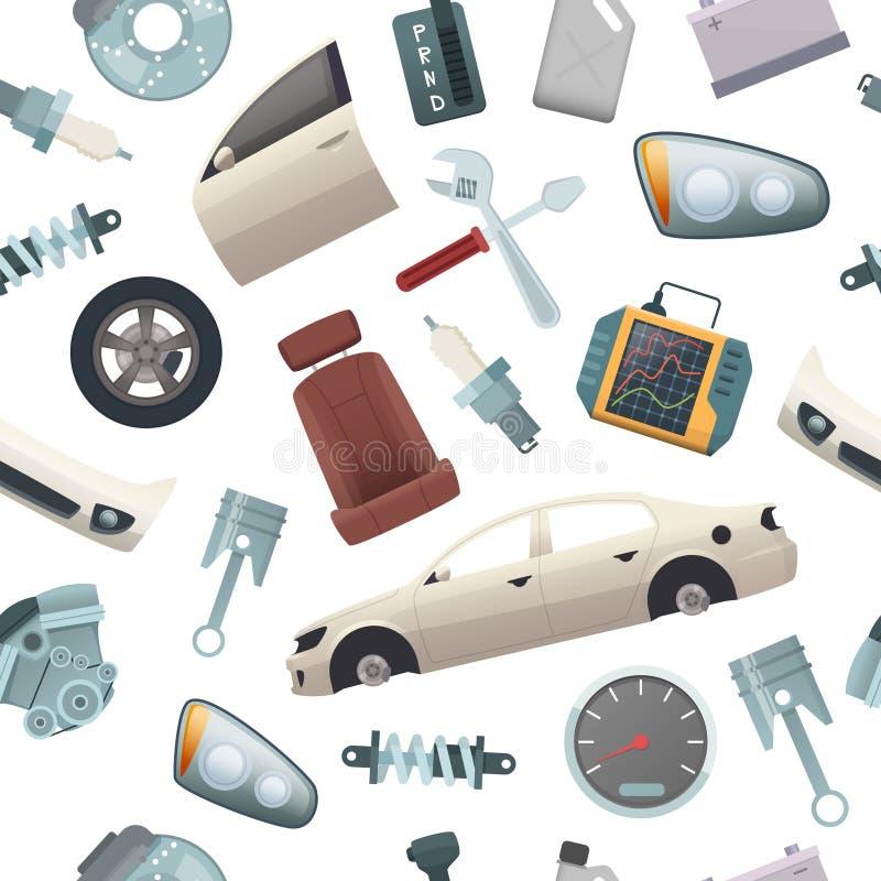 Bilhjälpmedelmodell Mekanikerdetaljer av bilen isolerade dörren för överföringen för delmotorhjulet förkroppsligar vektortecknade stock illustrationer