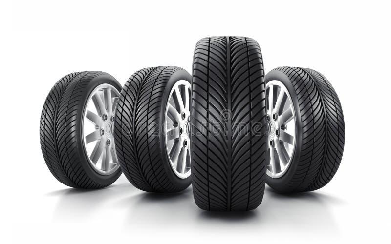 Bilhjul och gummihjul vektor illustrationer