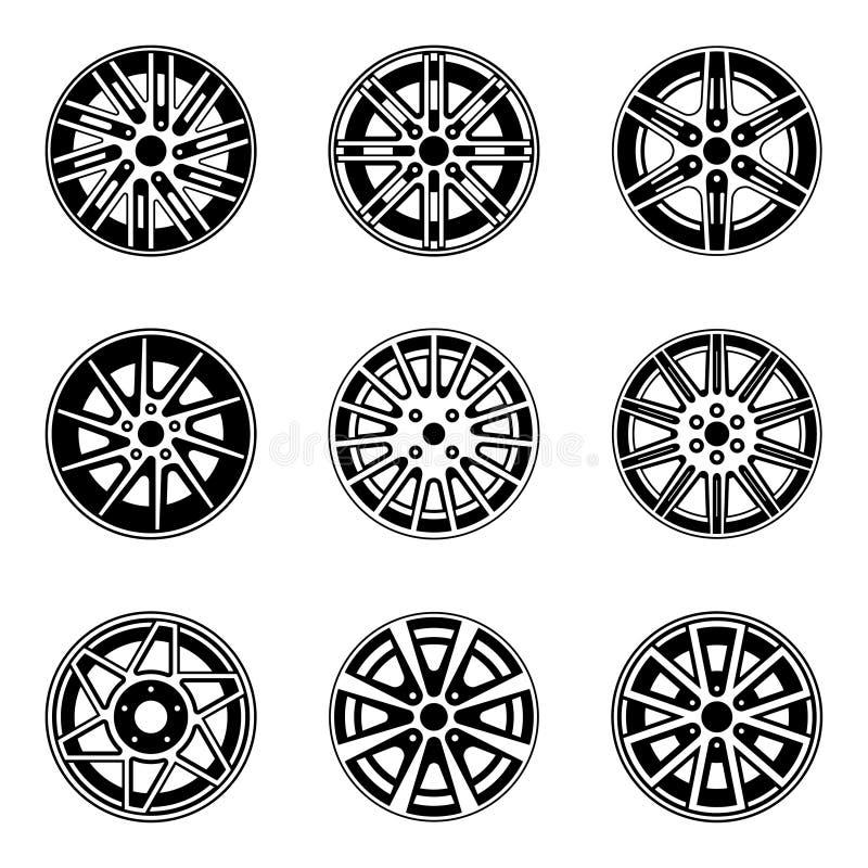Bilhjul och kantsymboler Uppsättning av teckning isolerade objekt arkivbilder