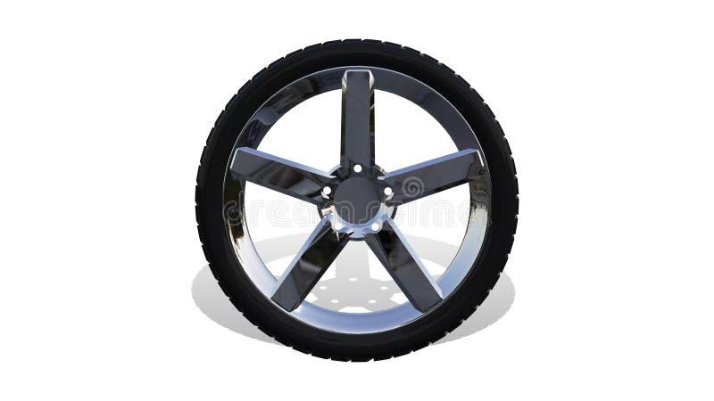 Bilhjul på vit bakgrund framförande 3d stock illustrationer