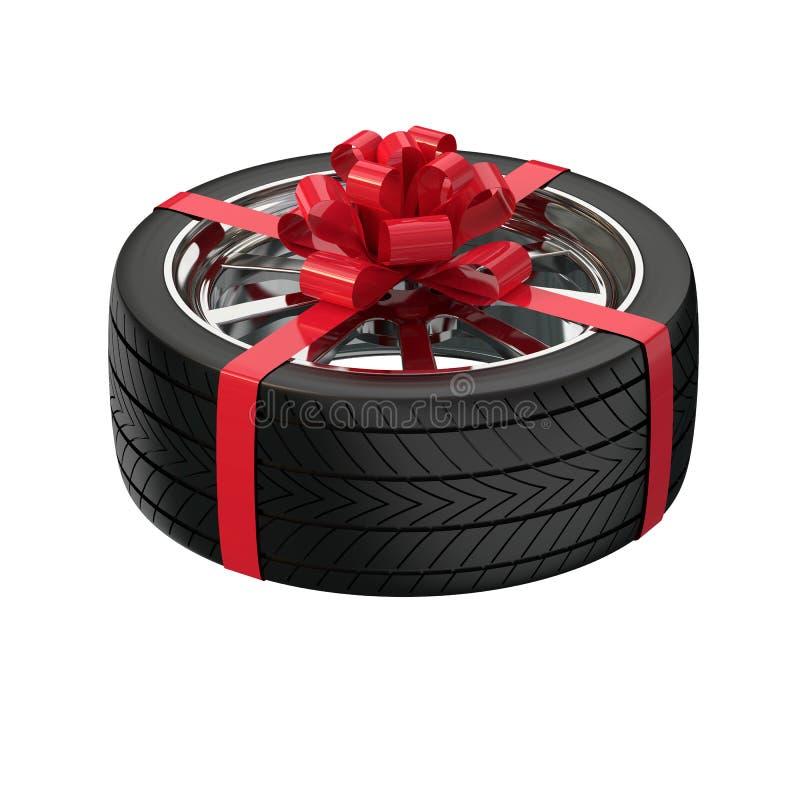 Bilhjul som en gåva Gåva för en man illustration 3d royaltyfri illustrationer