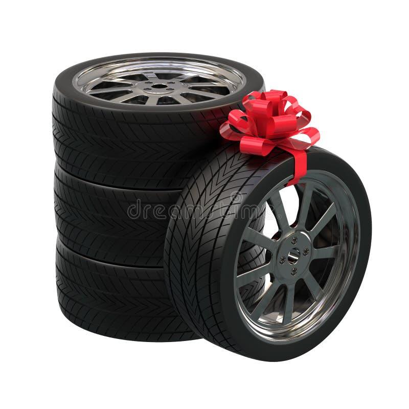 Bilhjul som gåvan gåva för man illustration 3d vektor illustrationer