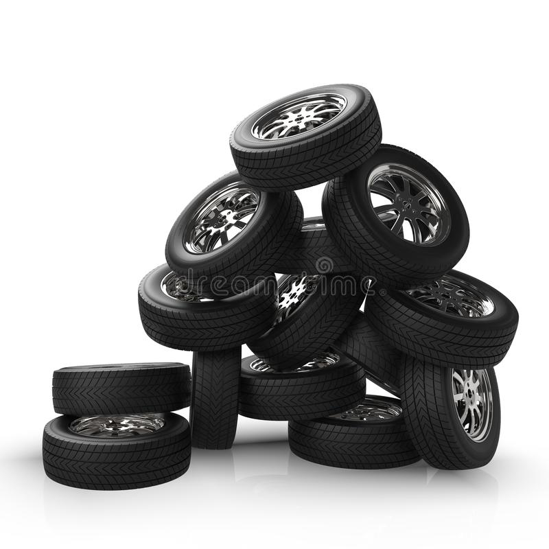 Bilhjul som staplas i hög Bergbilhjul framförande 3d royaltyfria bilder