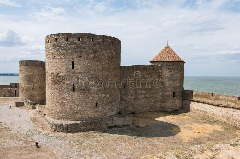 View to Akkerman fortress which is on the bank of the Dniester estuary, in Odessa region. Bilhorod-Dnistrovskyi, Ukraine - July 23 2019: Beatutiful ancient royalty free stock photography