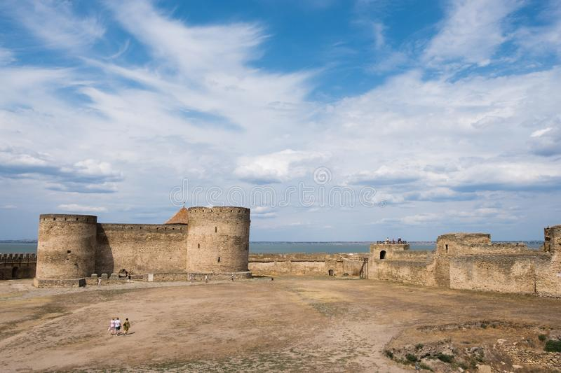 View to Akkerman fortress which is on the bank of the Dniester estuary, in Odessa region. Bilhorod-Dnistrovskyi, Ukraine - July 23 2019: Beatutiful ancient royalty free stock images