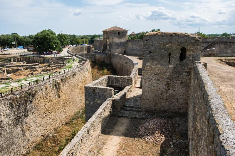 View to Akkerman fortress which is on the bank of the Dniester estuary, in Odessa region. Bilhorod-Dnistrovskyi, Ukraine - July 23 2019: Beatutiful ancient stock photo