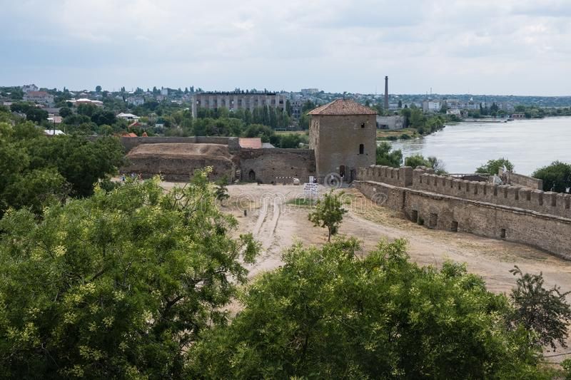 View to Akkerman fortress which is on the bank of the Dniester estuary, in Odessa region. Bilhorod-Dnistrovskyi, Ukraine - July 23 2019: Beatutiful ancient royalty free stock image