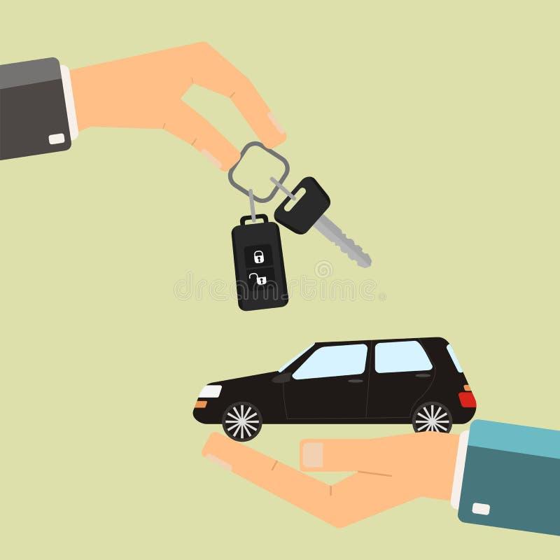 Bilhyra eller försäljningsbegrepp Hållande bil för hand, annan handholdi stock illustrationer