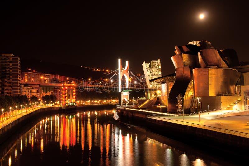 bili βασκική χώρα Ισπανία 07 31 2018 Γκούγκενχαϊμ φουτουριστικό στοκ φωτογραφία με δικαίωμα ελεύθερης χρήσης
