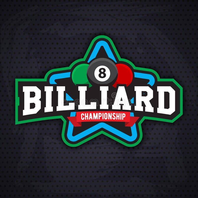 Biliardo ed emblema di sport dello snooker royalty illustrazione gratis
