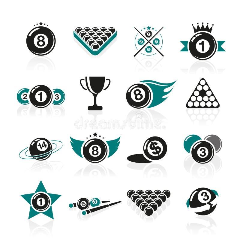 Biliardo ed icone dello snooker messe illustrazione vettoriale