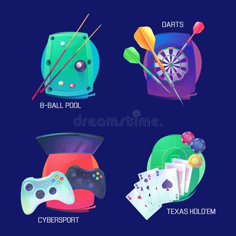 Biliardo o stagno, dardi e logo di sport del video gioco illustrazione di stock