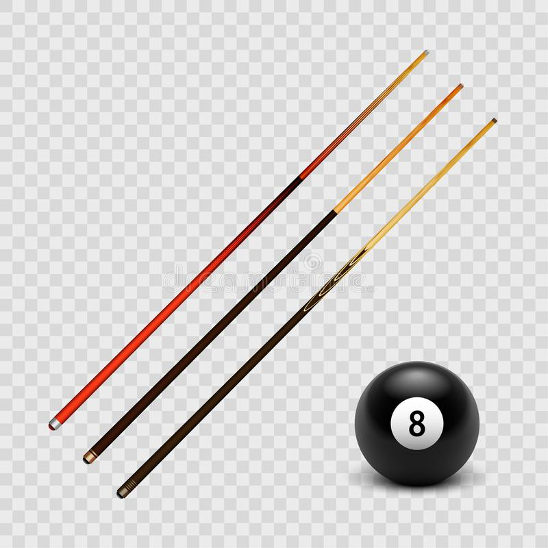 Biliardo realistico dell'illustrazione di riserva di vettore, insieme di stecca di stagno e la palla 8 isolata su un fondo a quad royalty illustrazione gratis