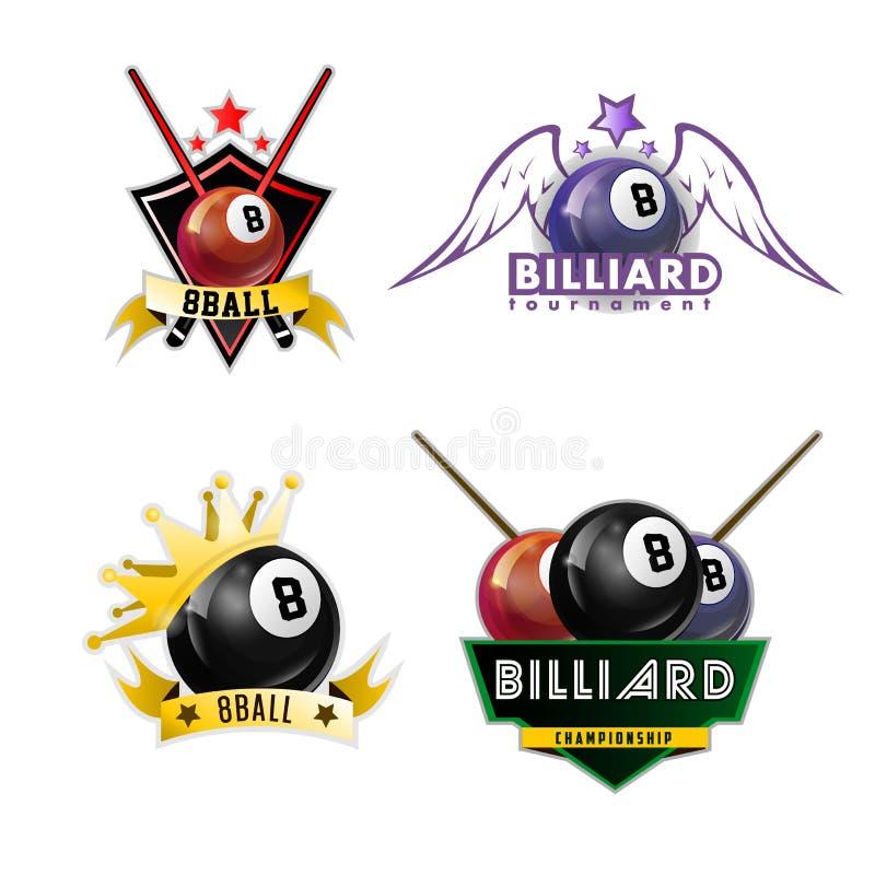 Biliardo, stagno e logos di sport dello snooker messo illustrazione vettoriale