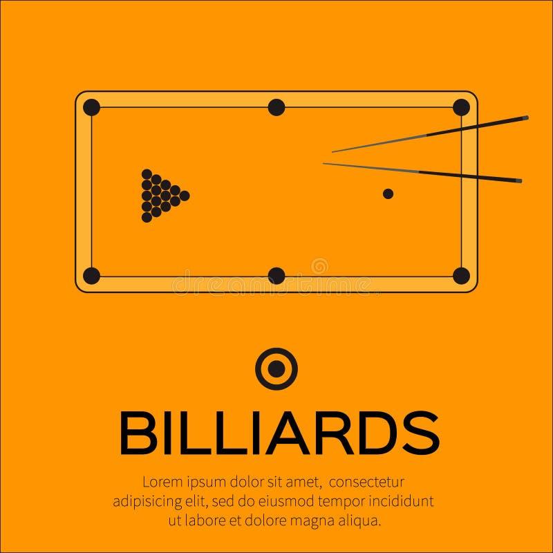Biliardo, stagno, gioco dello snooker illustrazione vettoriale