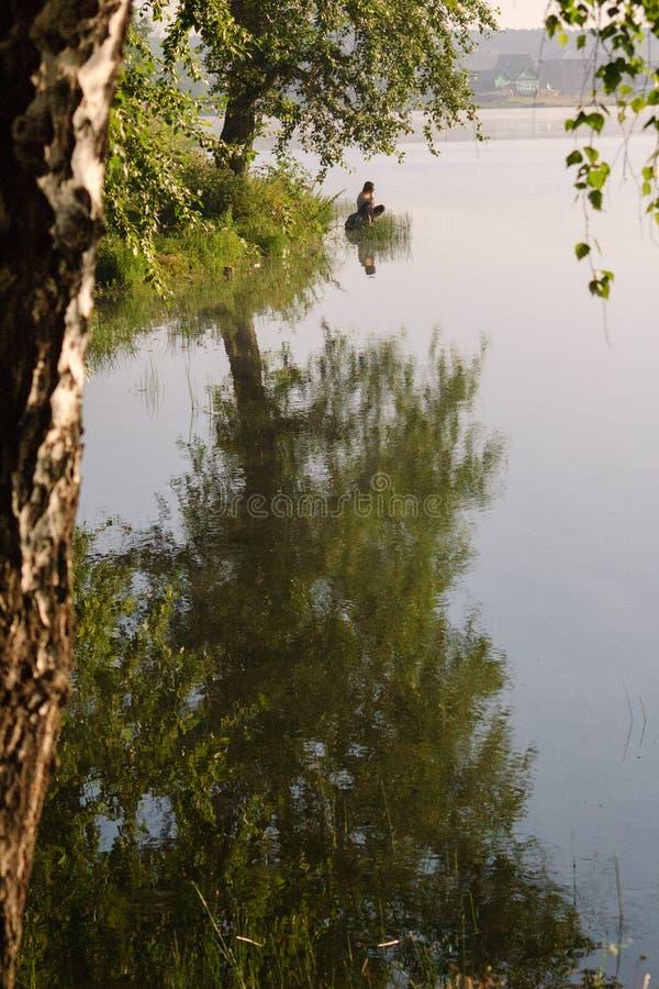 Bilimbayevsky pond in the morning. stock photography