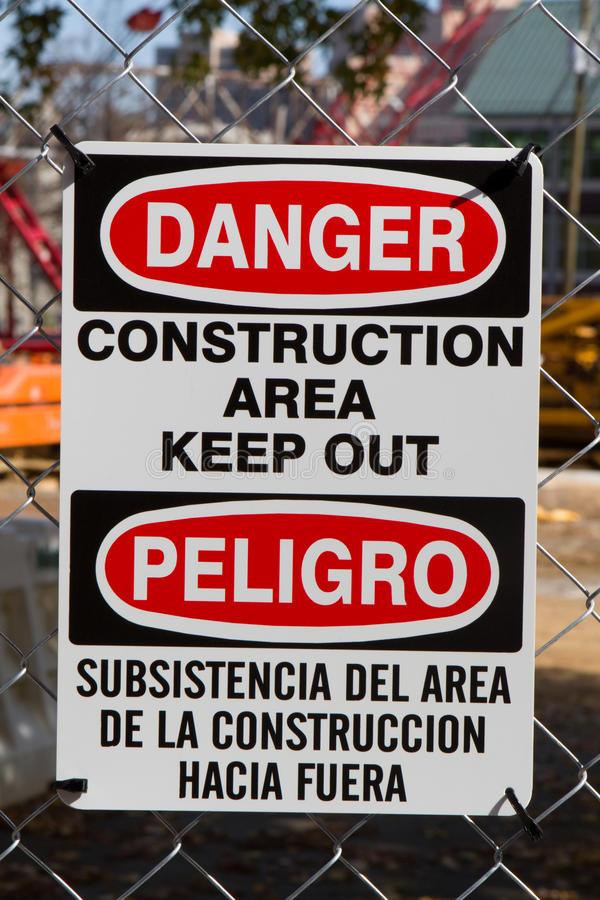 Free Bilingual Danger Construction Sign Stock Photography - 22025262