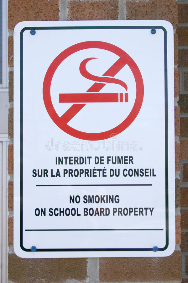 Bilingual sign stock image