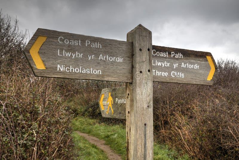 Bilingual Welsh English signpost royalty free stock photo