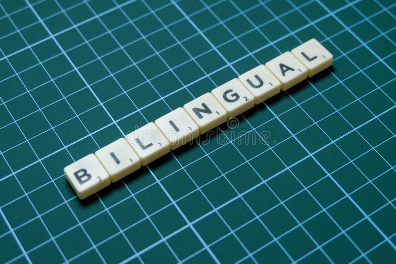 Bilingual word on green square mat background royalty free stock photo