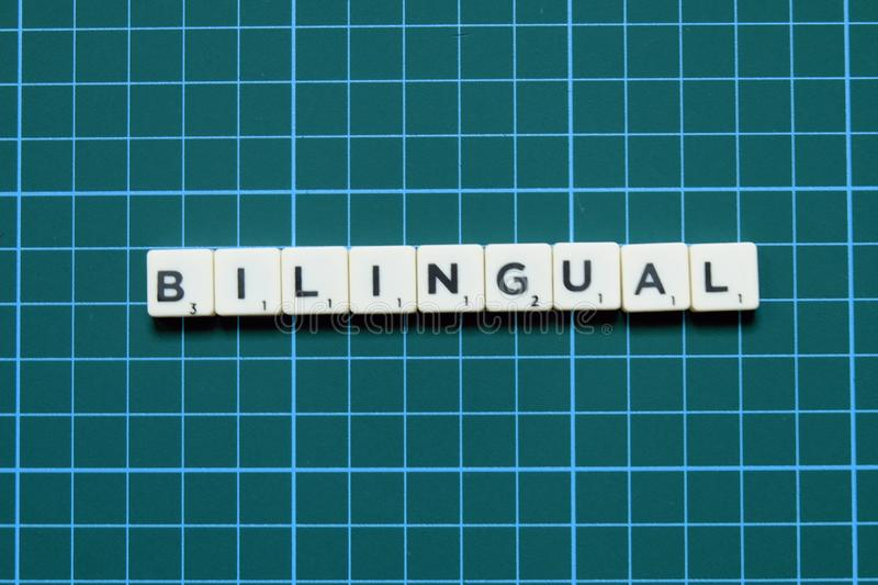 Bilingual word on green square mat background.  stock images
