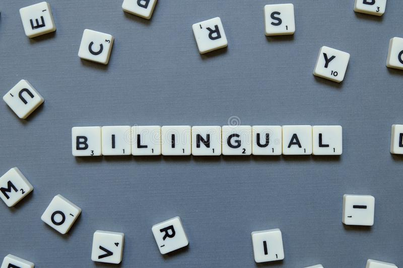 Bilingual words on grey background royalty free stock image