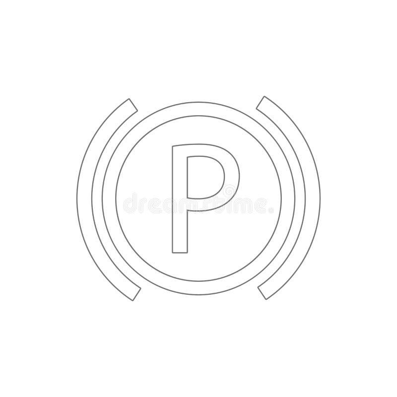 bilinstrumentbräda som parkerar översiktssymbolen Best?ndsdelar av symbolen f?r bilreparationsillustration r royaltyfri illustrationer