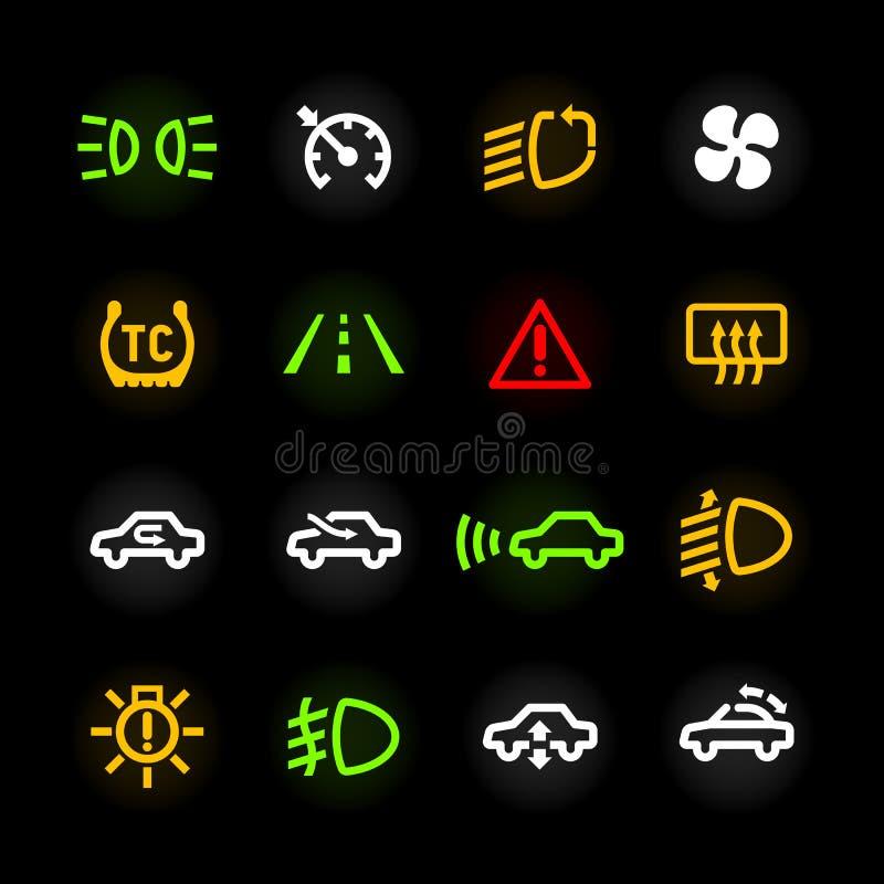 Bilinstrumentbrädasymboler vektor illustrationer