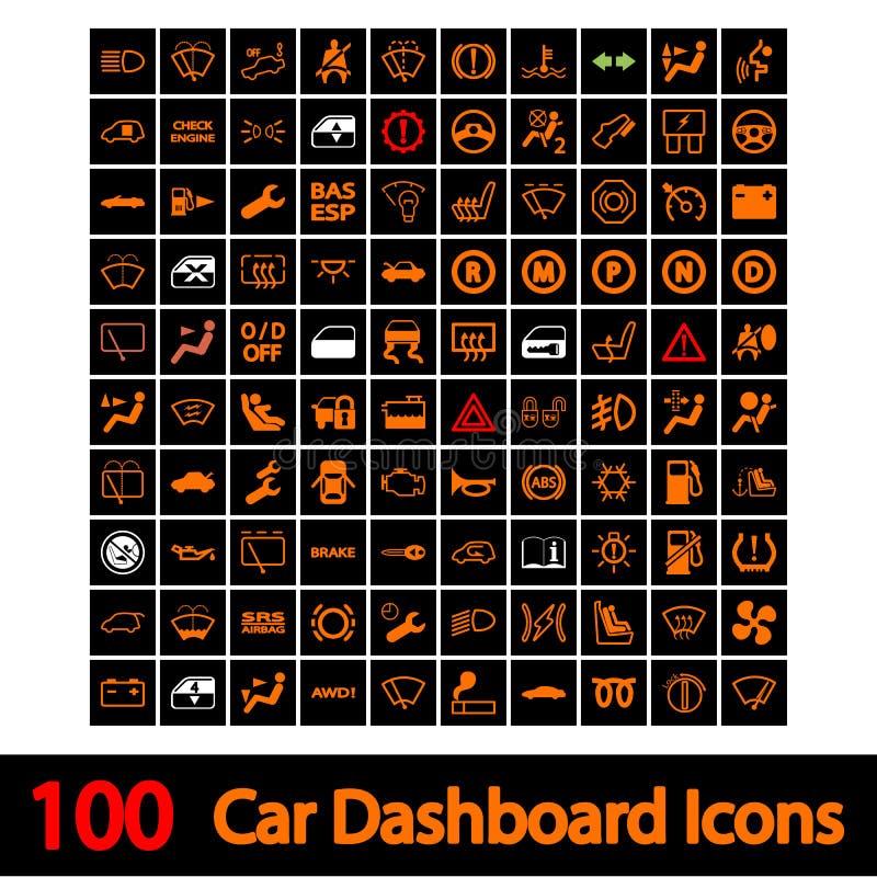 100 bilinstrumentbrädasymboler.