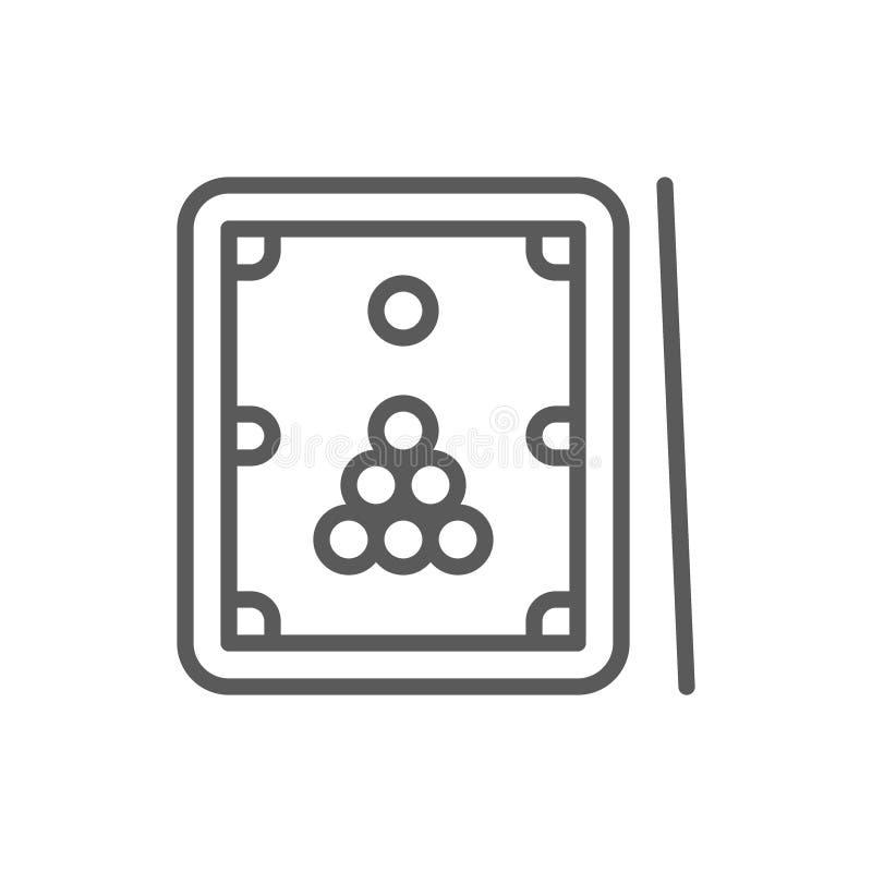 Biljarden, tabellen med stickreplik och bollar fodrar symbolen royaltyfri illustrationer