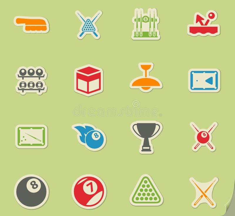 Biljart eenvoudig pictogrammen royalty-vrije illustratie