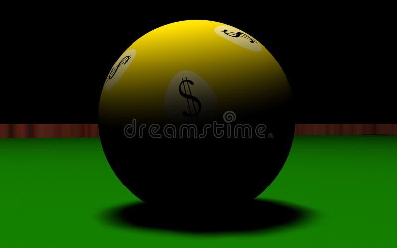 Biljart en dollar bal-3 vector illustratie