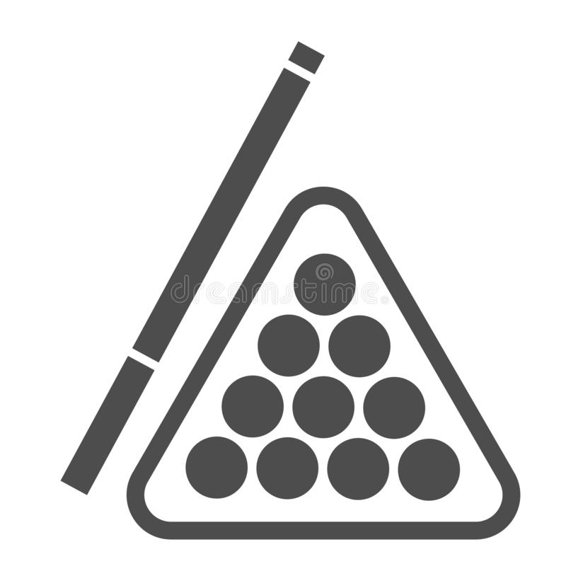 Biljart stevig pictogram Poolrichtsnoer en ballen vectordieillustratie op wit wordt ge?soleerd Het ontwerp van de spel glyph stij stock illustratie