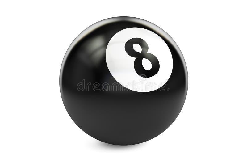 Biljart zwarte acht bal, het 3D teruggeven royalty-vrije illustratie