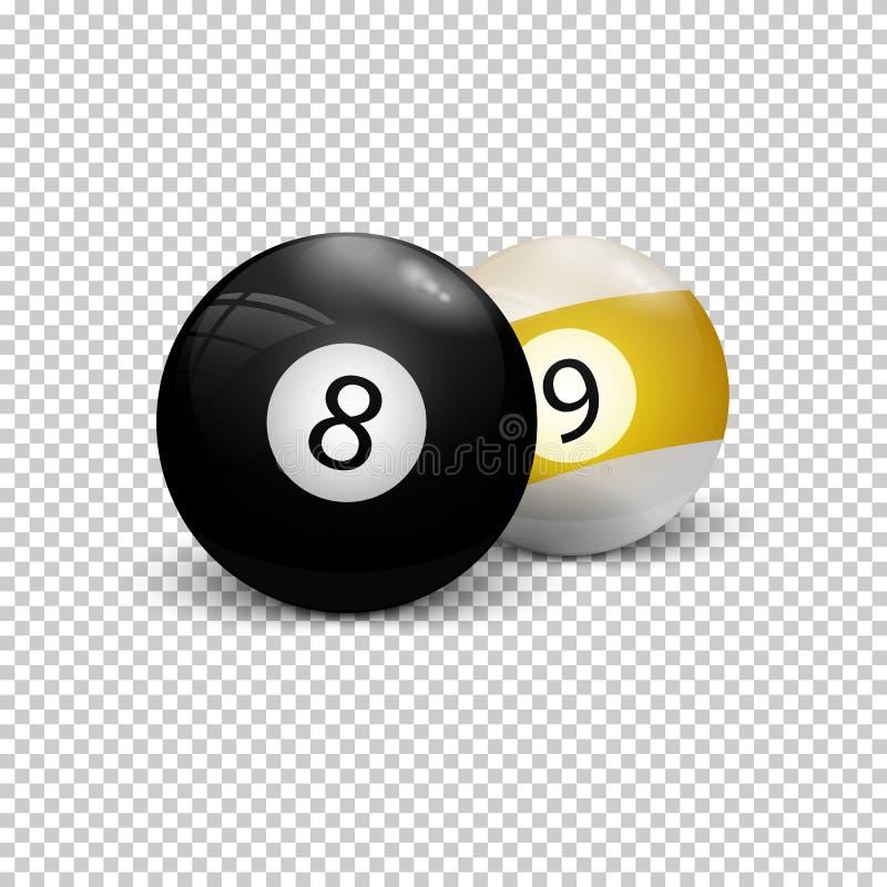 Biljartballen acht negen stock illustratie