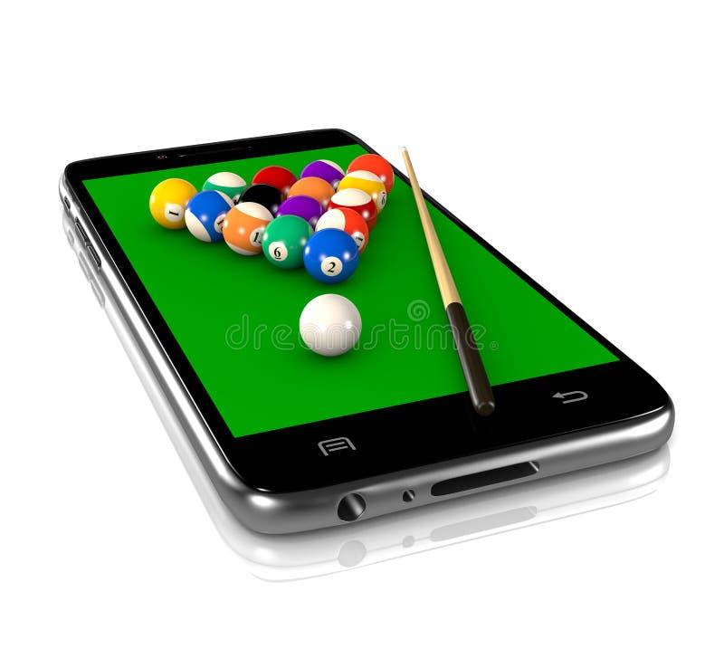 Biljartspel op Smartphone stock illustratie