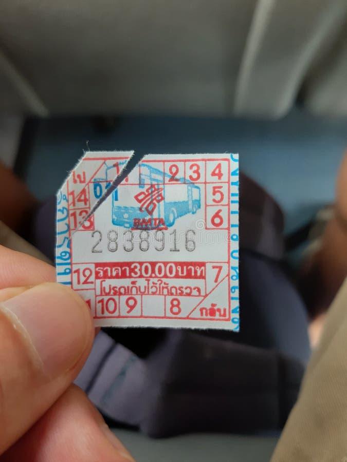 Biljett för flygplatssammanlänkningsbuss, Don Mueng, Bangkok, Thailand royaltyfria foton