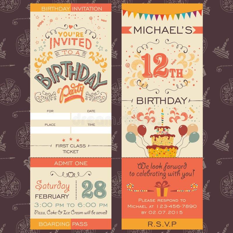 Biljett för inbjudan för födelsedagparti royaltyfri illustrationer
