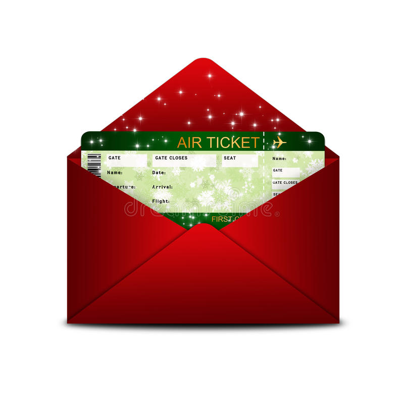 Biljett för passerande för julflygbolaglogi i rött kuvert stock illustrationer