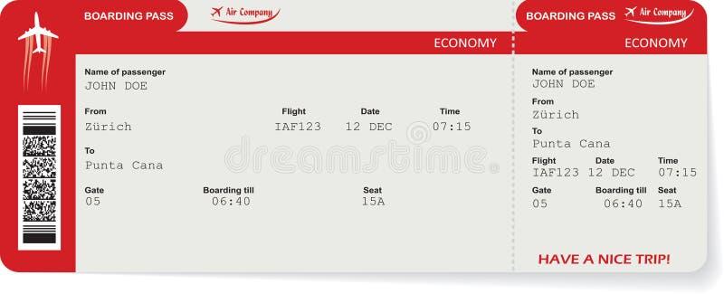Biljett för passerande för logi för vektorflygbolagpassagerare stock illustrationer